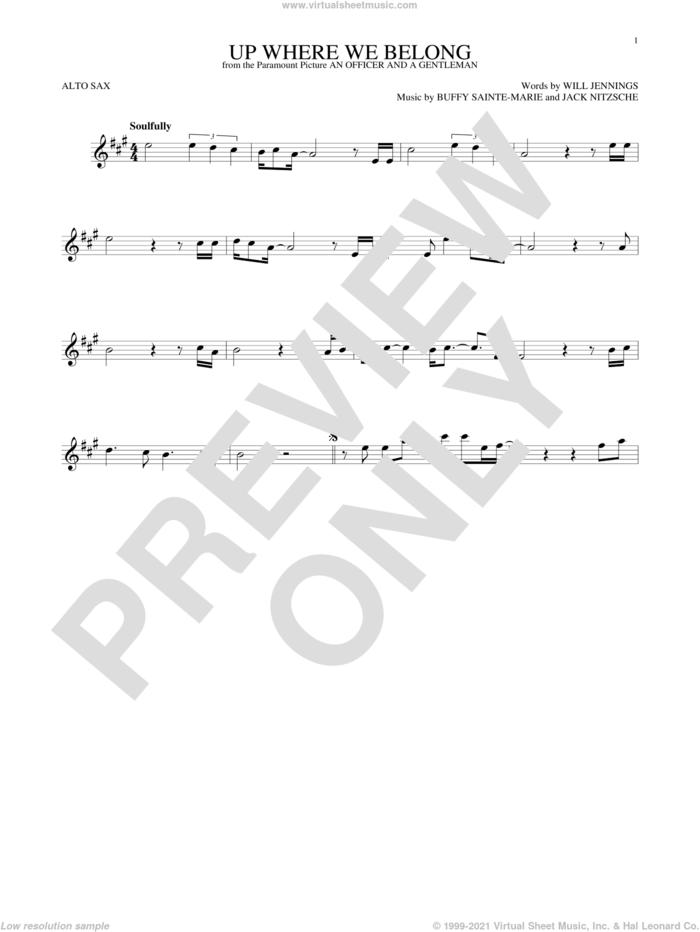 Up Where We Belong sheet music for alto saxophone solo by Joe Cocker & Jennifer Warnes, BeBe and CeCe Winans, Buffy Sainte-Marie, Jack Nitzche and Will Jennings, intermediate skill level