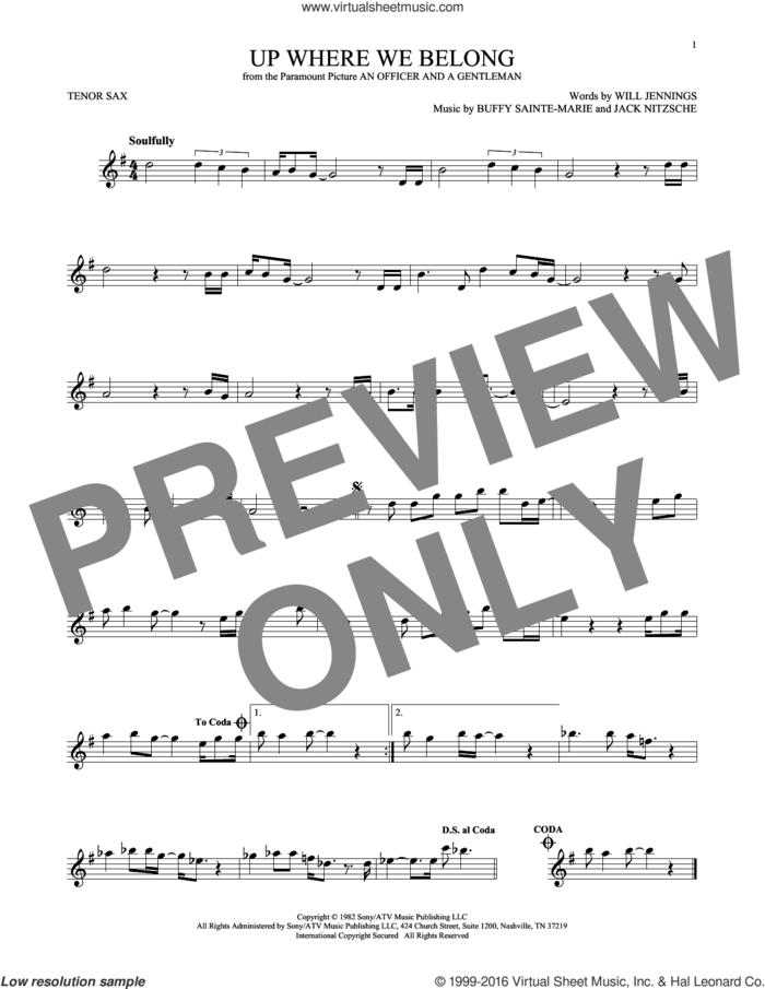 Up Where We Belong sheet music for tenor saxophone solo by Joe Cocker & Jennifer Warnes, BeBe and CeCe Winans, Buffy Sainte-Marie, Jack Nitzche and Will Jennings, intermediate skill level