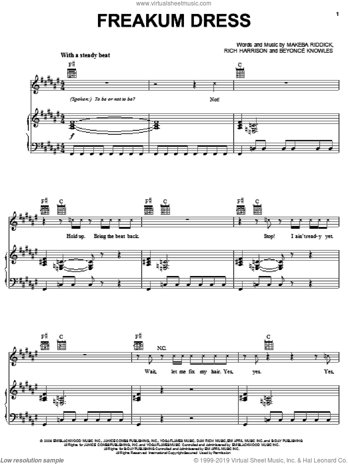 Freakum Dress sheet music for voice, piano or guitar by Beyonce, Makeba Riddick and Rich Harrison, intermediate skill level
