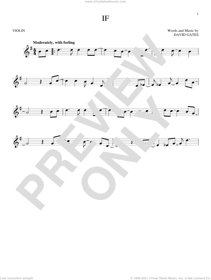 If sheet music for violin solo by Bread and David Gates, intermediate skill level