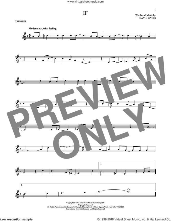 If sheet music for trumpet solo by Bread and David Gates, intermediate skill level