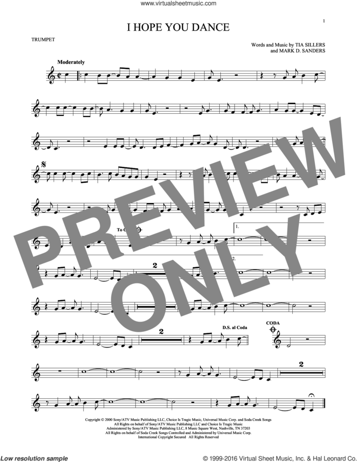 I Hope You Dance sheet music for trumpet solo by Lee Ann Womack with Sons of the Desert, Mark D. Sanders and Tia Sillers, intermediate skill level