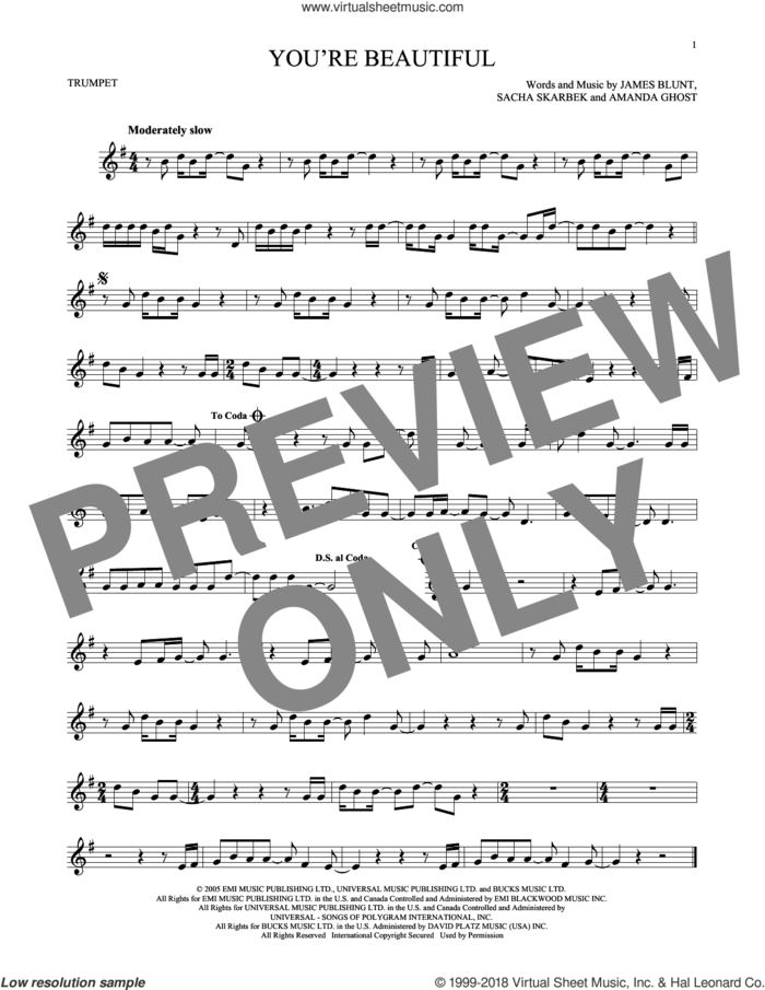 You're Beautiful sheet music for trumpet solo by James Blunt, Amanda Ghost and Sacha Skarbek, intermediate skill level