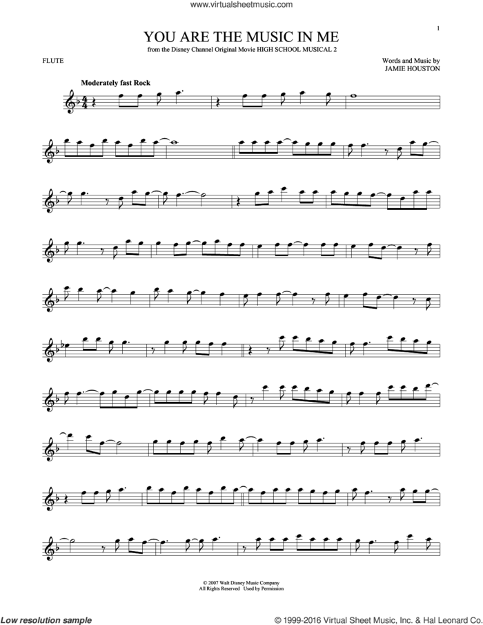 You Are The Music In Me sheet music for flute solo by Zac Efron and Vanessa Anne Hudgens and Jamie Houston, intermediate skill level