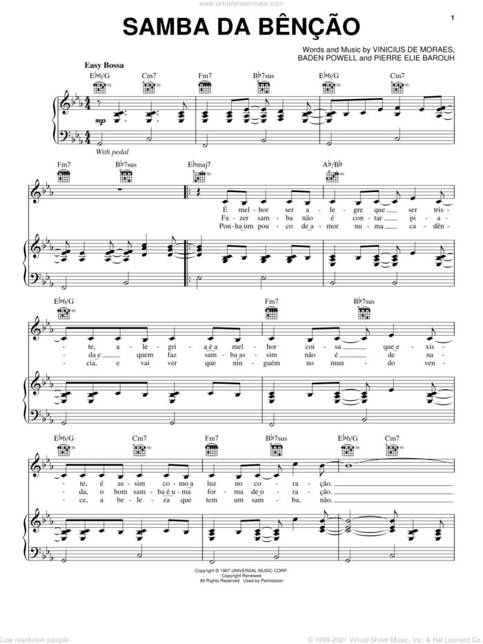 Samba da Bencao sheet music for voice, piano or guitar by Bebel Gilberto, Baden Powell, Pierre Elie Barouh and Vinicius de Moraes, intermediate skill level