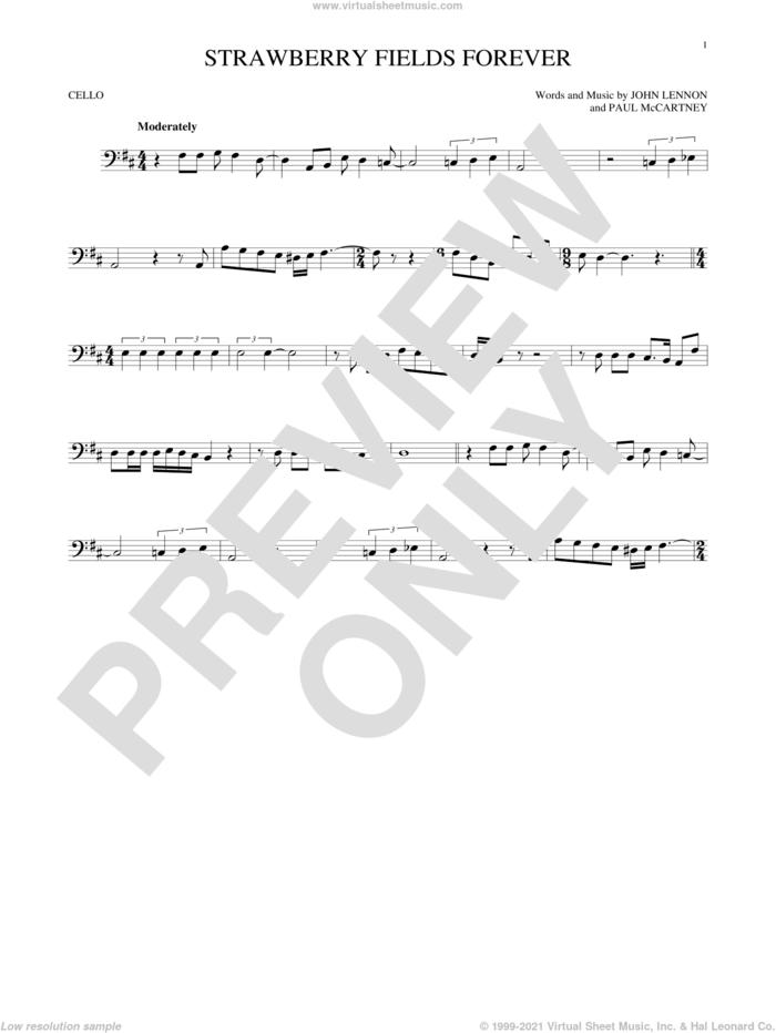 Strawberry Fields Forever sheet music for cello solo by The Beatles, John Lennon and Paul McCartney, intermediate skill level