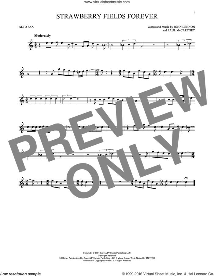 Strawberry Fields Forever sheet music for alto saxophone solo by The Beatles, John Lennon and Paul McCartney, intermediate skill level