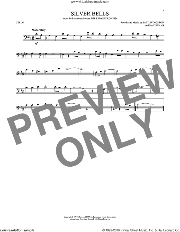 Silver Bells sheet music for cello solo by Jay Livingston, Jay Livingston & Ray Evans and Ray Evans, intermediate skill level