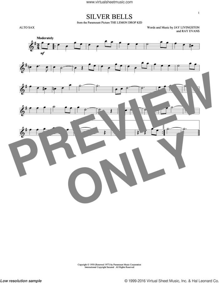 Silver Bells sheet music for alto saxophone solo by Jay Livingston, Jay Livingston & Ray Evans and Ray Evans, intermediate skill level