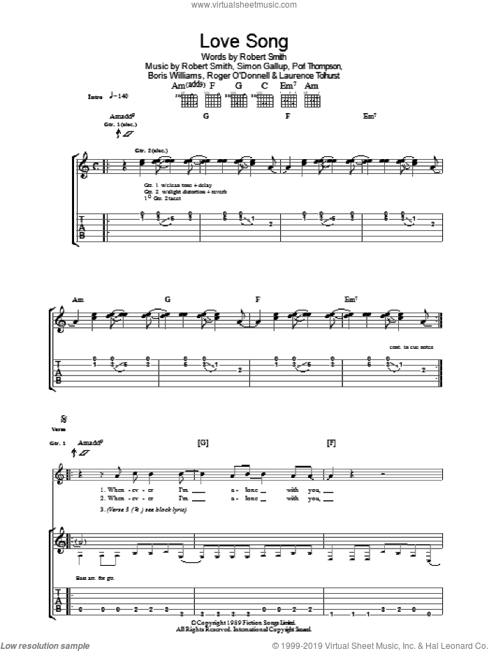 Lovesong sheet music for guitar (tablature) by The Cure, Boris Williams, Laurence Tolhurst, Porl Thompson, Robert Smith and Simon Gallup, intermediate skill level