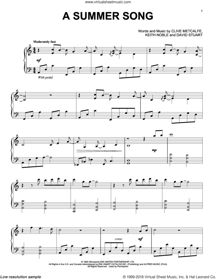 A Summer Song sheet music for piano solo by David Lanz, Clive Metcalfe, David Stuart and Keith Noble, intermediate skill level