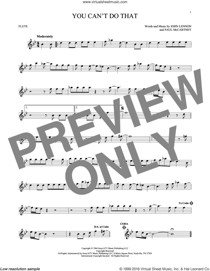 You Can't Do That sheet music for flute solo by The Beatles, John Lennon and Paul McCartney, intermediate skill level