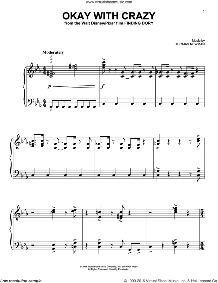 Okay With Crazy (from Finding Dory) sheet music for piano solo by Thomas Newman, easy skill level