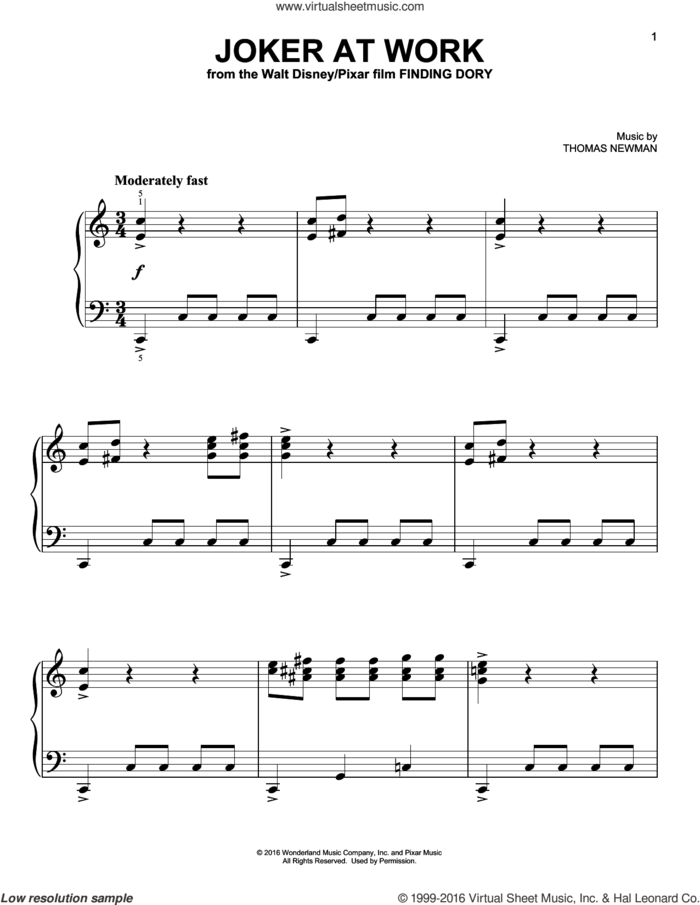 Joker At  Work (from Finding Dory) sheet music for piano solo by Thomas Newman, easy skill level