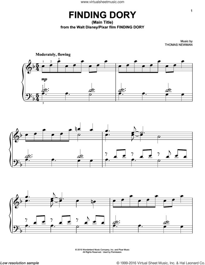Finding Dory (Main Title), (easy) sheet music for piano solo by Thomas Newman, easy skill level