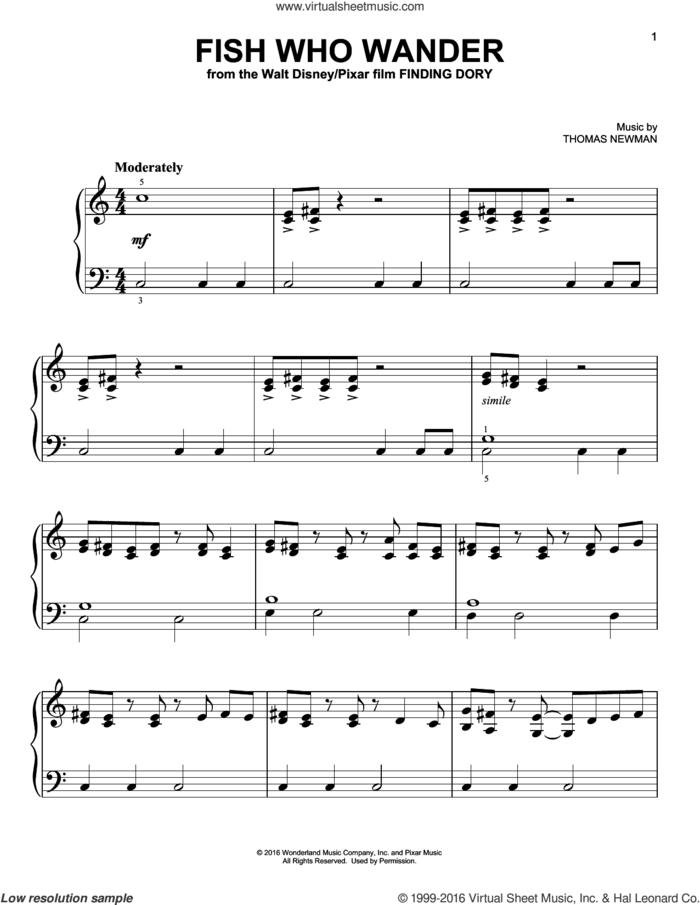Fish Who Wander (from Finding Dory) sheet music for piano solo by Thomas Newman, easy skill level