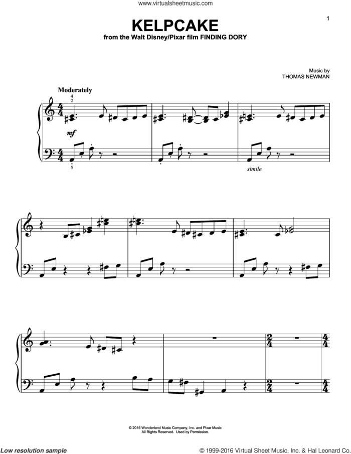 Kelpcake (from Finding Dory) sheet music for piano solo by Thomas Newman, easy skill level