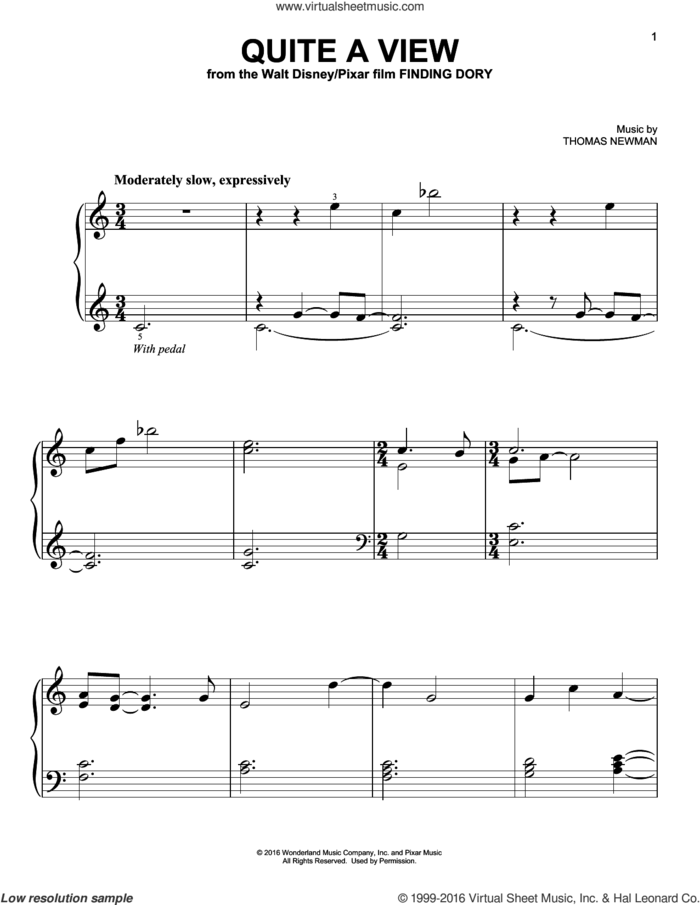 Quite A View (from Finding Dory) sheet music for piano solo by Thomas Newman, easy skill level