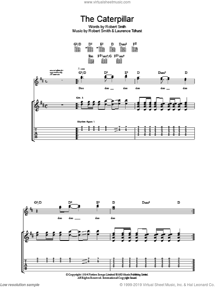 The Caterpillar sheet music for guitar (tablature) by The Cure, Laurence Tolhurst and Robert Smith, intermediate skill level