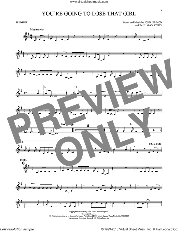 You're Going To Lose That Girl sheet music for trumpet solo by The Beatles, John Lennon and Paul McCartney, intermediate skill level