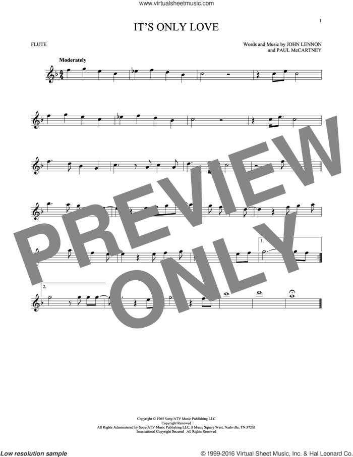 It's Only Love sheet music for flute solo by The Beatles, John Lennon and Paul McCartney, intermediate skill level