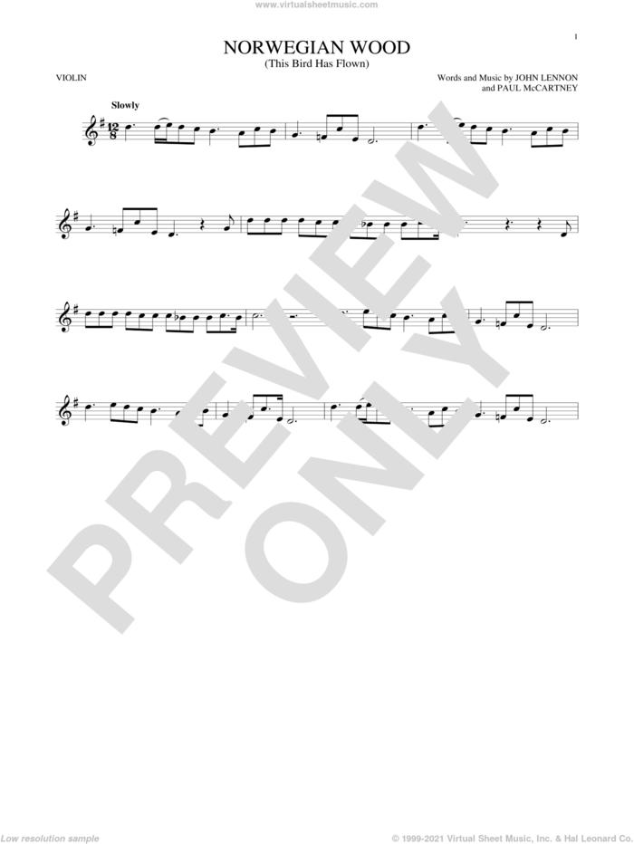 Norwegian Wood (This Bird Has Flown) sheet music for violin solo by The Beatles, John Lennon and Paul McCartney, intermediate skill level