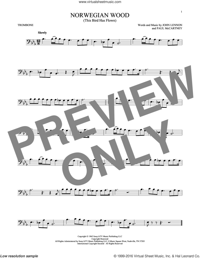 Norwegian Wood (This Bird Has Flown) sheet music for trombone solo by The Beatles, John Lennon and Paul McCartney, intermediate skill level