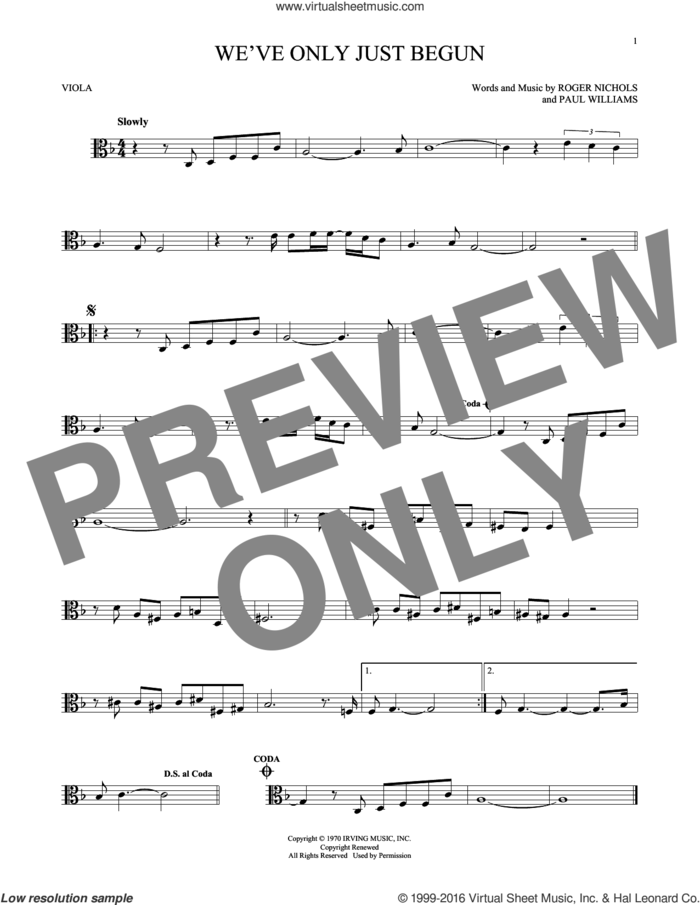 We've Only Just Begun sheet music for viola solo by Carpenters, Paul Williams and Roger Nichols, intermediate skill level
