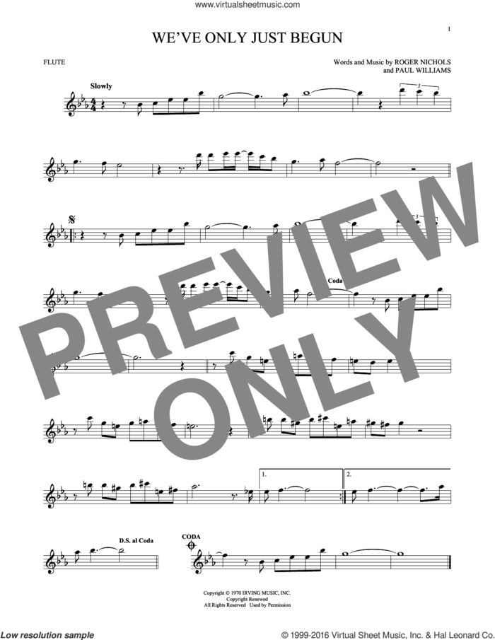 We've Only Just Begun sheet music for flute solo by Carpenters, Paul Williams and Roger Nichols, intermediate skill level