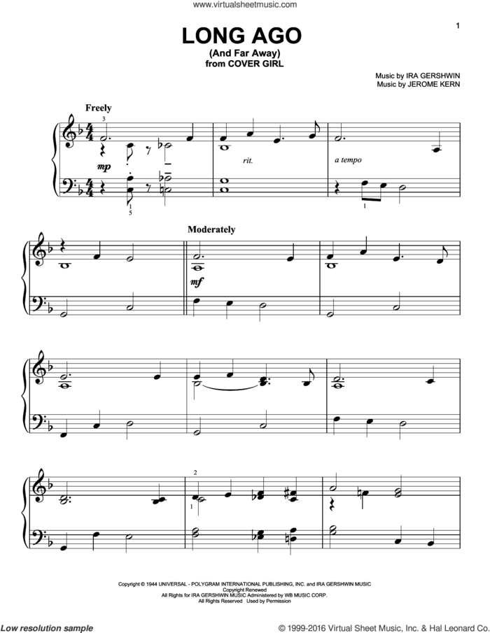 Long Ago (And Far Away) sheet music for piano solo by Ira Gershwin and Jerome Kern, easy skill level