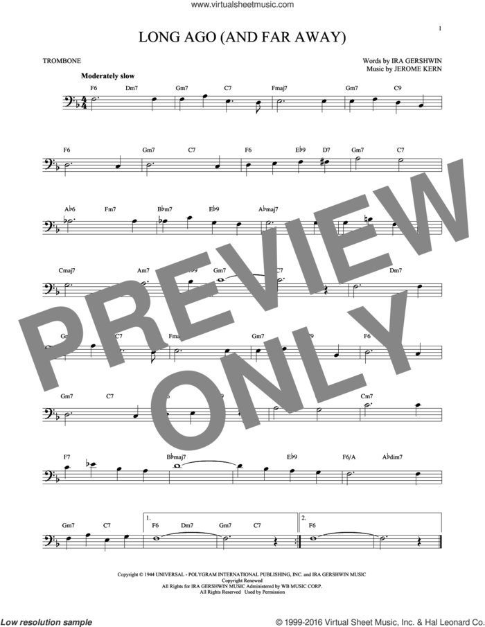 Long Ago (And Far Away) sheet music for trombone solo by Ira Gershwin and Jerome Kern, intermediate skill level