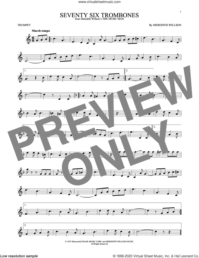 Seventy Six Trombones sheet music for trumpet solo by Meredith Willson, intermediate skill level