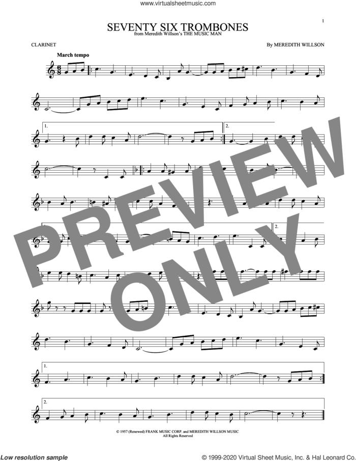 Seventy Six Trombones sheet music for clarinet solo by Meredith Willson, intermediate skill level