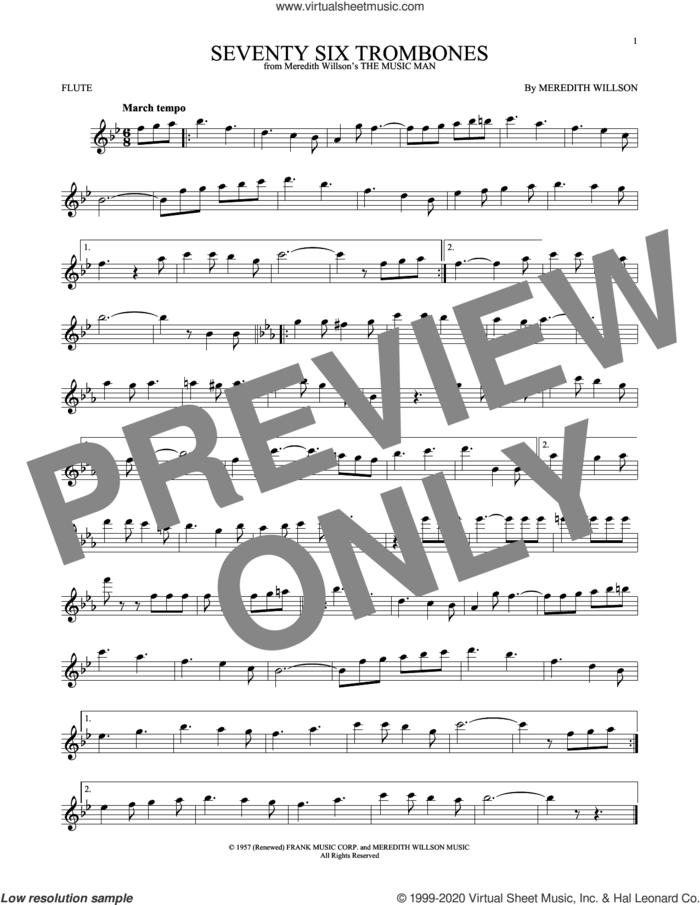 Seventy Six Trombones sheet music for flute solo by Meredith Willson, intermediate skill level