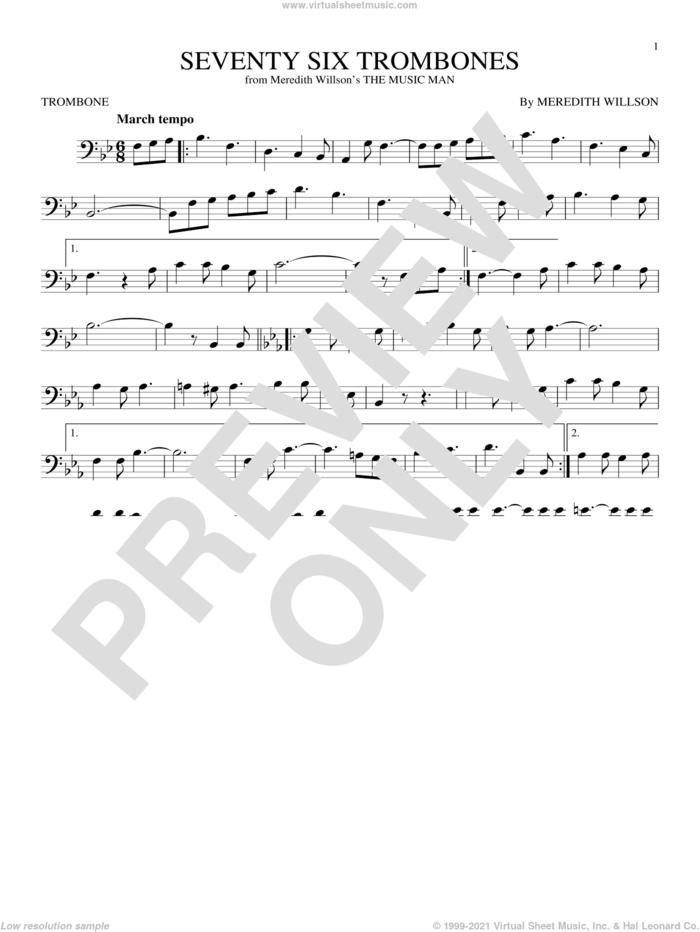Seventy Six Trombones sheet music for trombone solo by Meredith Willson, intermediate skill level