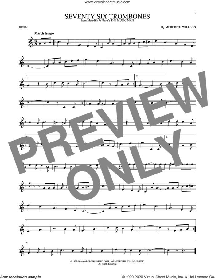 Seventy Six Trombones sheet music for horn solo by Meredith Willson, intermediate skill level