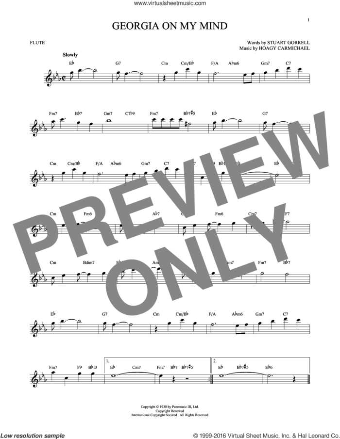 Georgia On My Mind sheet music for flute solo by Hoagy Carmichael, Ray Charles, Willie Nelson and Stuart Gorrell, intermediate skill level
