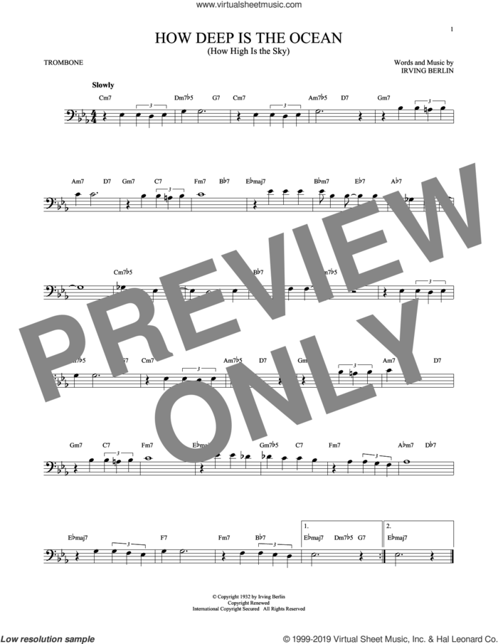 How Deep Is The Ocean (How High Is The Sky) sheet music for trombone solo by Irving Berlin and Ben Webster, intermediate skill level