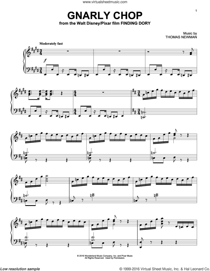 Gnarly Chop (from Finding Dory) sheet music for piano solo by Thomas Newman, intermediate skill level