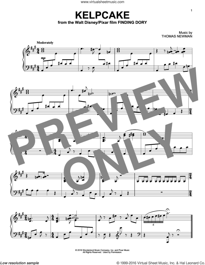 Kelpcake (from Finding Dory) sheet music for piano solo by Thomas Newman, intermediate skill level