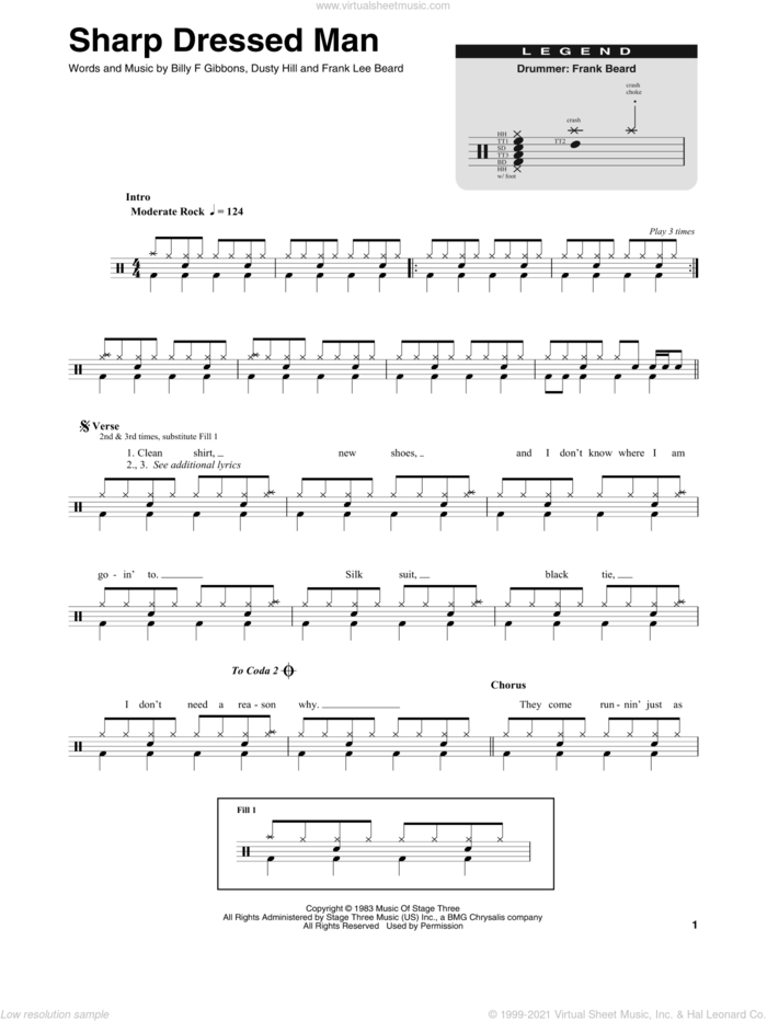 Sharp Dressed Man sheet music for drums by ZZ Top, Billy Gibbons, Dusty Hill and Frank Beard, intermediate skill level