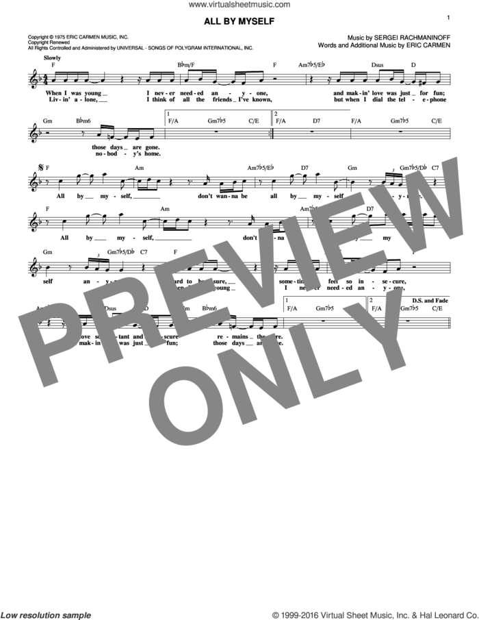 All By Myself sheet music for voice and other instruments (fake book) by Serjeij Rachmaninoff, Celine Dion and Eric Carmen, intermediate skill level