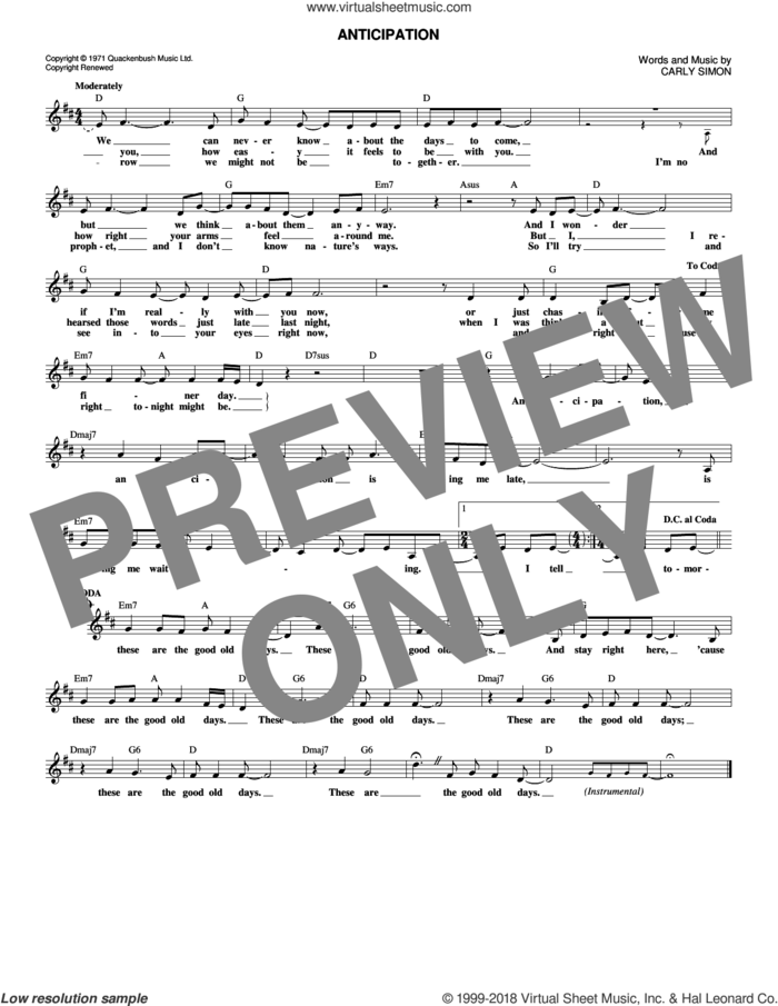 Anticipation sheet music for voice and other instruments (fake book) by Carly Simon, intermediate skill level