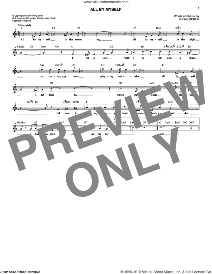 All By Myself sheet music for voice and other instruments (fake book) by Irving Berlin, Bing Crosby, Frank Crumit and Ted Lewis, intermediate skill level