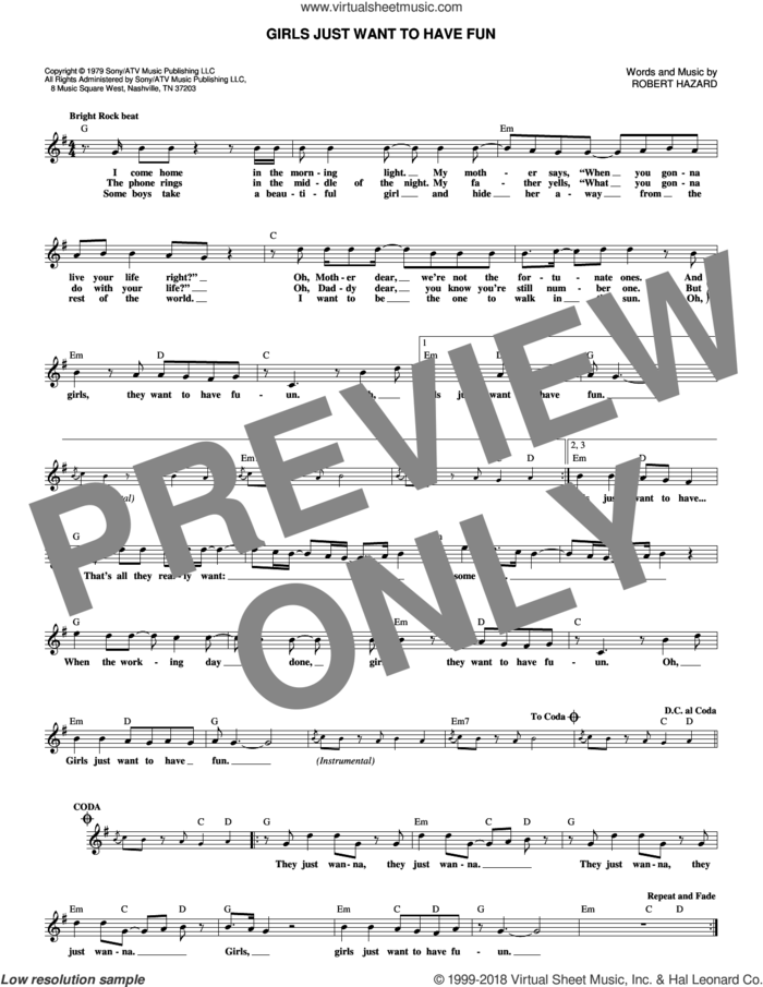 Girls Just Want To Have Fun sheet music for voice and other instruments (fake book) by Cyndi Lauper, Miley Cyrus and Robert Hazard, intermediate skill level