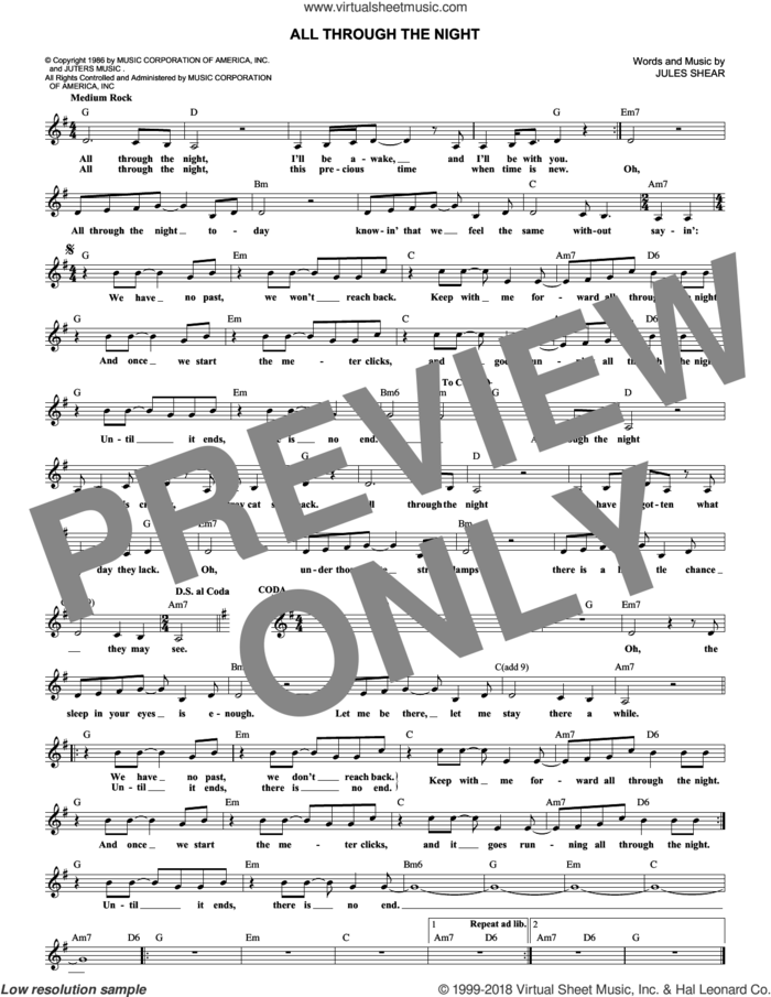 All Through The Night sheet music for voice and other instruments (fake book) by Cyndi Lauper and Jules Shear, intermediate skill level