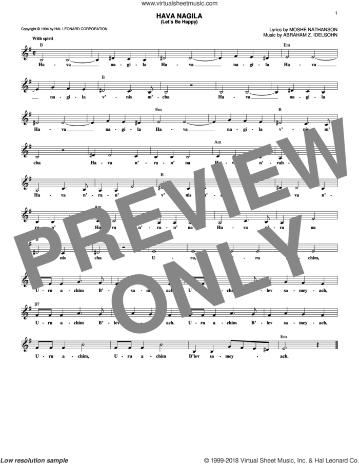 Hava Nagila (Let's Be Happy) sheet music for voice and other instruments (fake book) by Moshe Nathanson and Abraham Z. Idelsohn, intermediate skill level