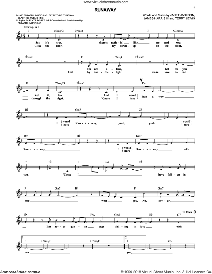 Runaway sheet music for voice and other instruments (fake book) by Janet Jackson, James Harris and Terry Lewis, intermediate skill level