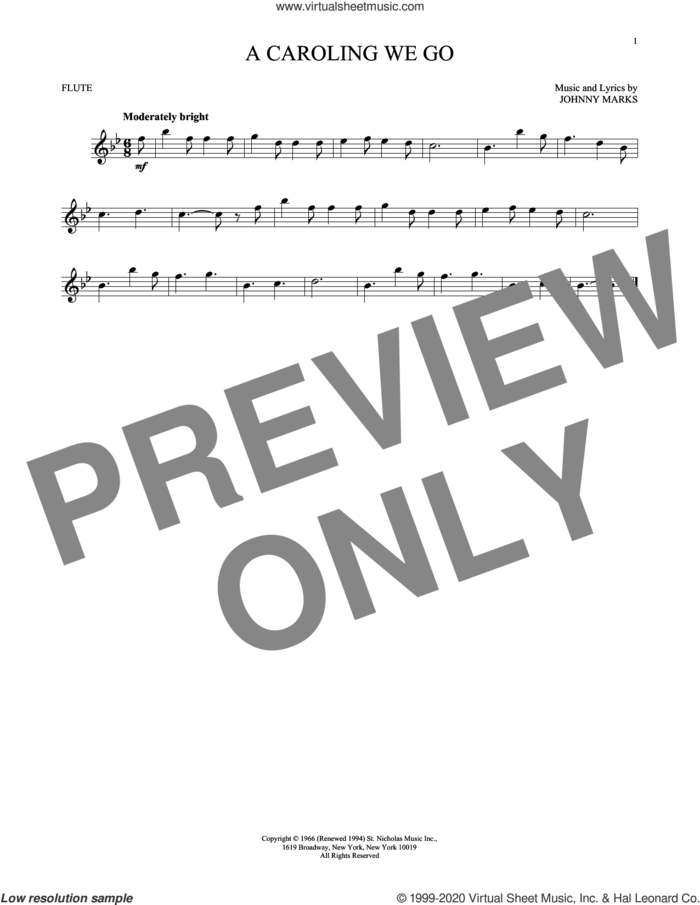 A Caroling We Go sheet music for flute solo by Johnny Marks, intermediate skill level