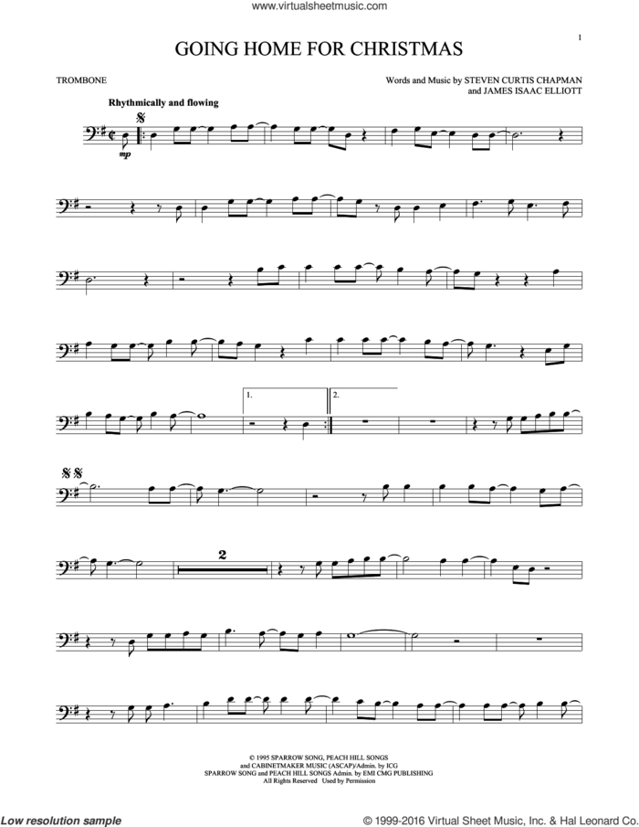 Going Home For Christmas sheet music for trombone solo by Steven Curtis Chapman and James Isaac Elliott, intermediate skill level